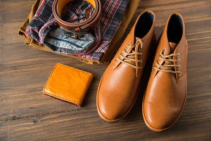 men casual fashion on wooden floor