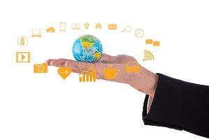globe in businessman hand