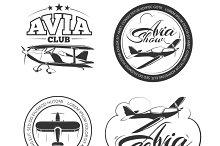Aviation, airplane logo set