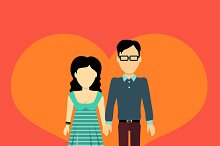 Couple in Love Banner Flat Design