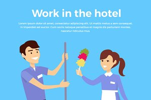 Work in Hotel Banner Design Flat