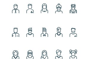 People, user profile line icons