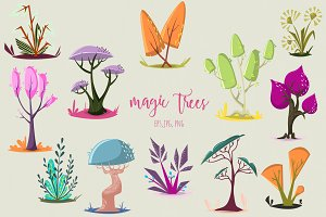 Cartoon magic trees set