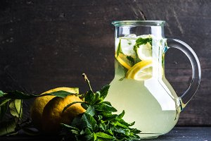 Homemade mint lemonade