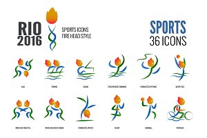 Rio 36 Sports icons: Fire head Style