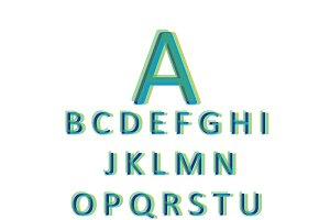 3D font green