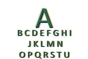 3D font green vector