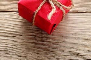 Gift box wrapped in red paper