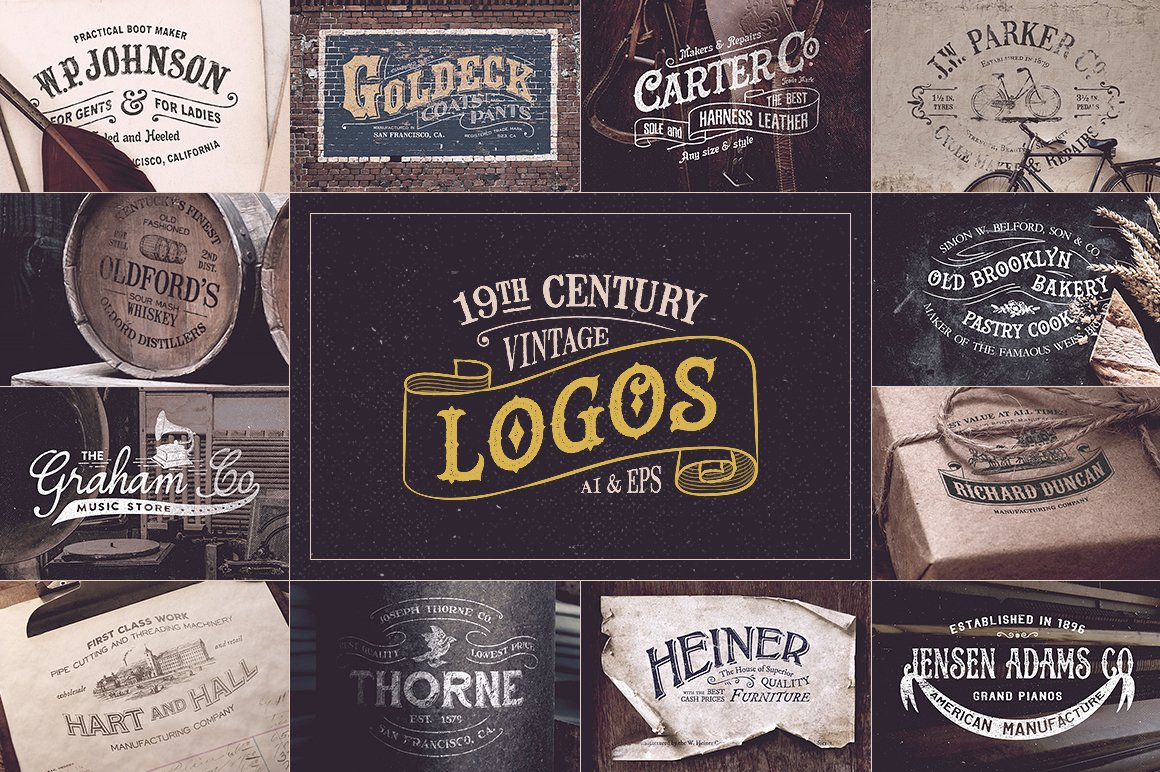 19th Century Vintage Logos Logo Templates Creative Market