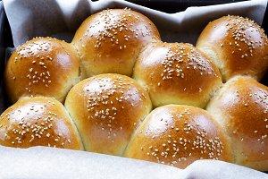 burger bun on a baking sheet