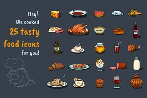 Cartoon Food Icons Game Set