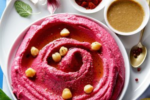 beetroot hummus and spices