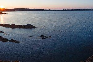 Sunset sea coast landscape.