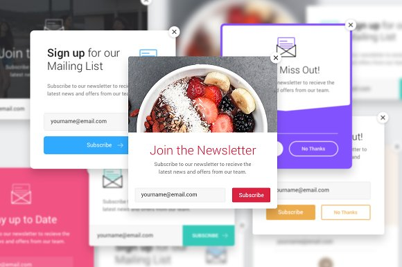 8 email list popup templates web elements creative market
