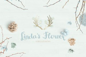 Beautiful Floral Antler Logo