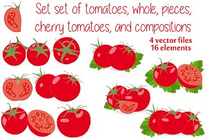 Set of tomatoes, whole, pieces