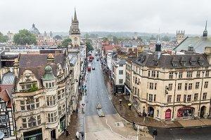 Oxford cityscape a rainy day