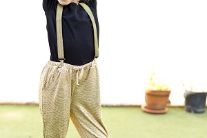 Girl with gold pants