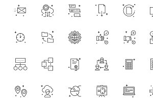 36 linear icons of workflow