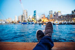 Feets up with Sydney background