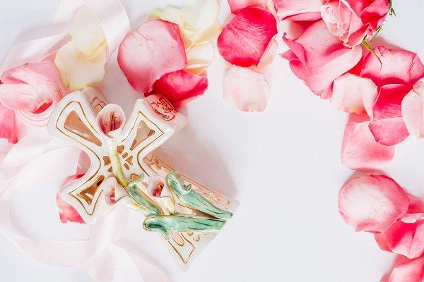 White Ceramic Cross  I Styled Stock