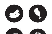 Barbecue meat icons. Vector