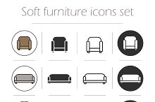 Soft furnishing icons set. Vector