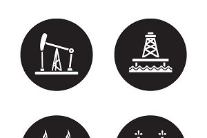 Oil drilling black icons set. Vector