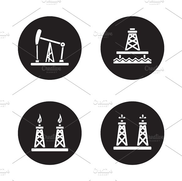Oil drilling black icons set. Vector - Icons