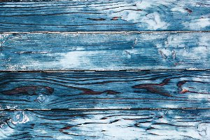 Blue colored painted wood