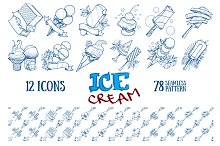 Ice cream. Outline patterns, icons