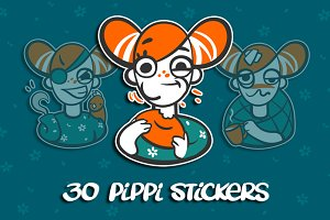 Girl Pippi sticker pack
