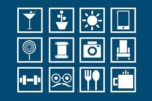 Square Lifestyle Icon Set