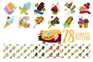 Ice cream. Set of icons and patterns