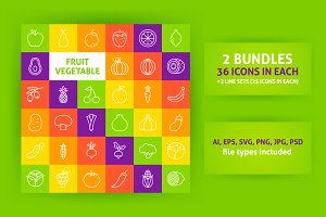 Fruit Vegetable Line Art Icons
