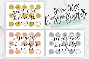 50% off Silver Rose Gold Foil Circle