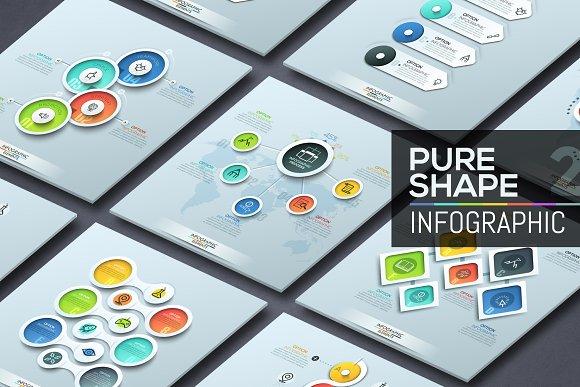 Pure Shape Infographic. Set 2 - Presentations