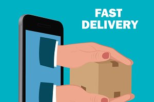 fast delivery service, flat design