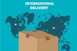 international delivery, flat design