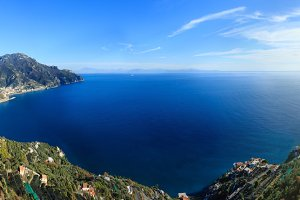 Amalfi coast sea panorama.