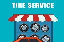 tire service concept, flat design