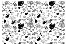 Seamless pattern drawing of leaves