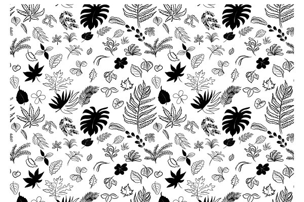 Seamless Pattern Drawing Of Leaves Pre Designed Illustrator Graphics Creative Market