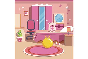 Girls all pink bedroom interior