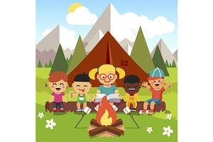 Kindergarten kids camping