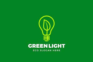 Green Eco Light Vector Logo Template