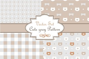 "Vector set ""Cute grey pattern"""