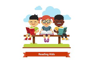 Three smiling kids reading books
