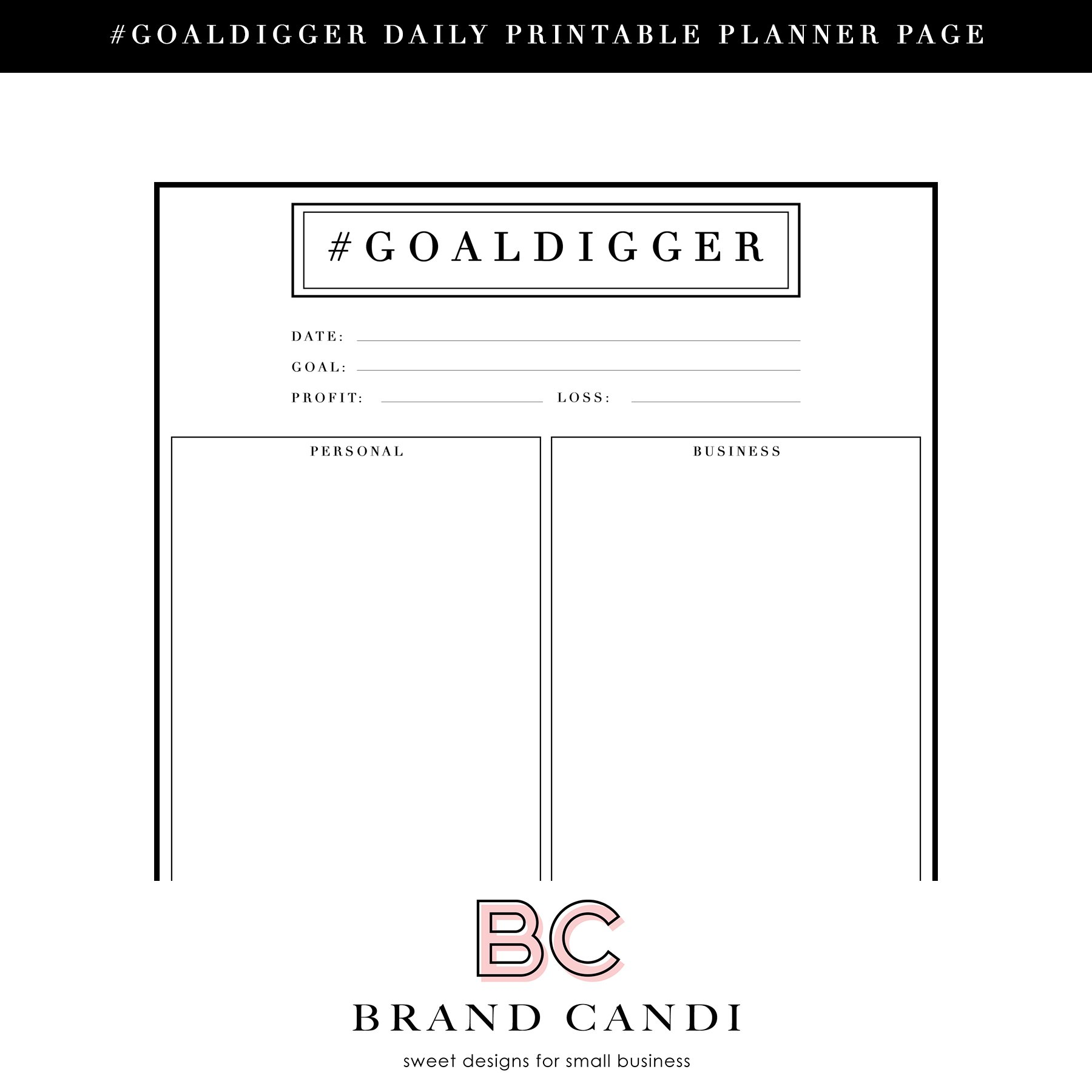 Printable Daily Planner Page ~ Stationery Templates