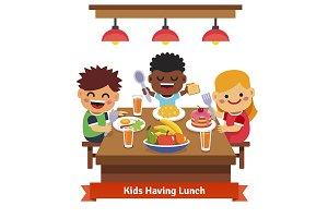 Children having dinner